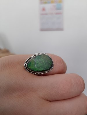 Statement Ring silver-colored-neon green