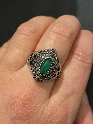 Vintage Anello d'argento argento-verde