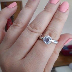Silberring mit Labor-hergestelltem Diamant,  Gr 20