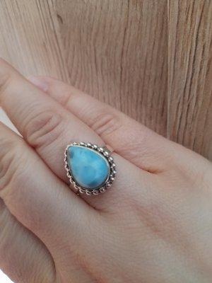 Anello d'argento argento-azzurro