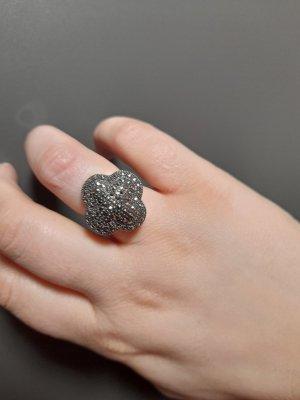 Statement ring zilver-antraciet