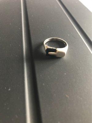 925er Silber Anello d'argento nero-argento