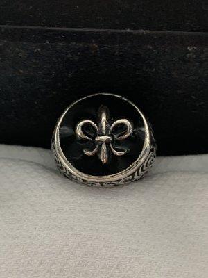 Silberring mit Schwarz emailliert und Silber -lilie