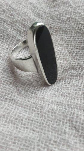 Anillo de plata negro-color plata