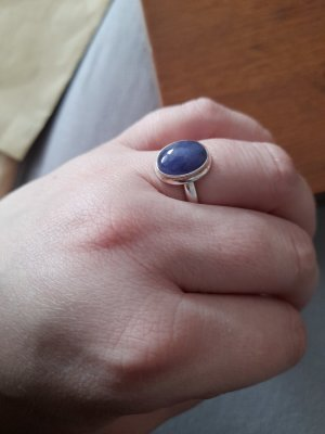 Silver Ring silver-colored-steel blue