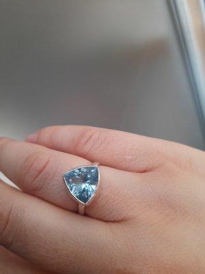Anillo de plata color plata-azul bebé