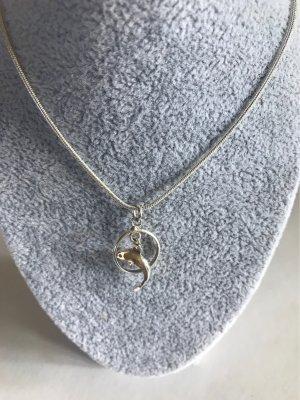 Silberschlangenkette , mit Delfinanhänger , in 925