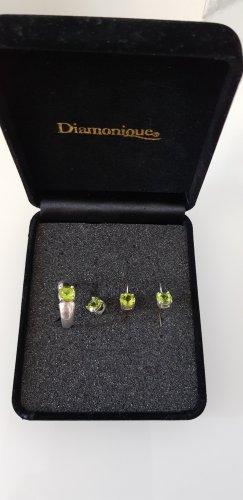 Diamonique Jewellery Set silver-colored-pale green