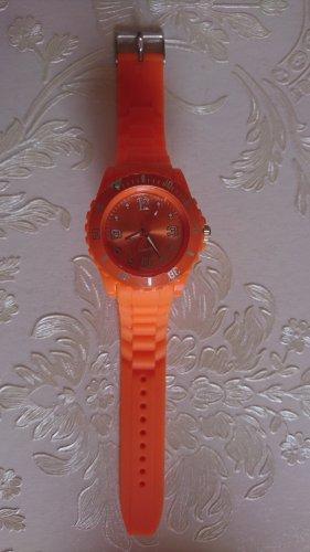 Montre analogue orange fluo