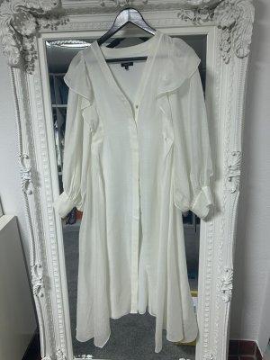Massimo Dutti Sukienka gorsetowa w kolorze białej wełny Jedwab