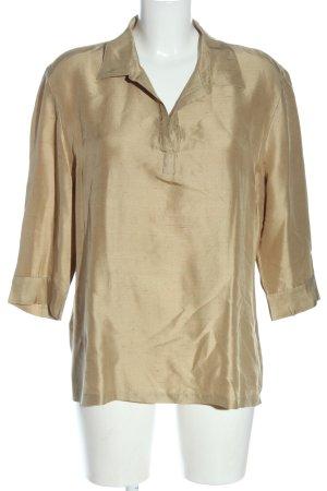 Silkland Blusa de seda color oro elegante