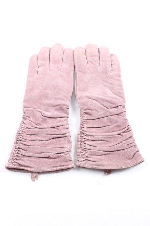 Silkroad Guantes de cuero rosa look casual