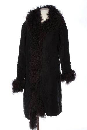 Silkwave Manteau de fourrure noir style décontracté