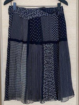 PAUW Jupe en soie bleu foncé-blanc