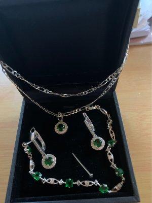 Collar estilo collier color plata-verde