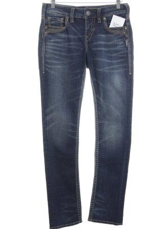 Silver Jeans 3/4 Jeans dunkelblau Logo-Applikation aus Leder
