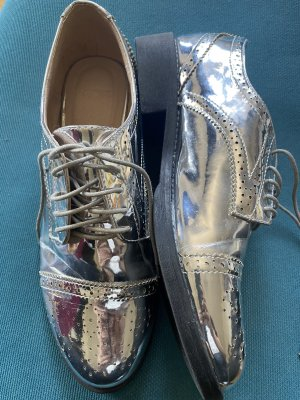 Silver Lace-Up Shoes, 39, ASOS