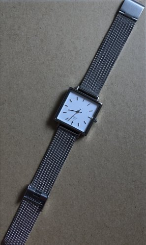 Watch With Metal Strap silver-colored-white