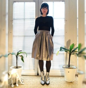& other stories Flared Skirt silver-colored