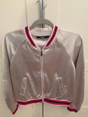 Silver satin thin bomber jacket