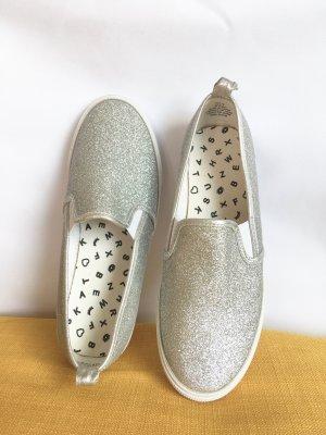 H&M Sneaker slip-on argento-bianco Tessuto misto