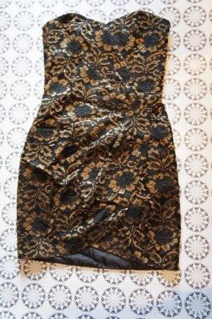 *Silvester* Bandeaukleid Cocktailkleid schwarz gold H&M Größe 36