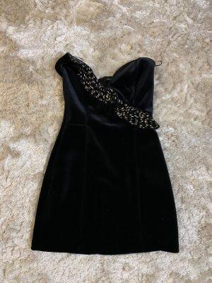 Bershka Sukienka bez ramiączek czarny-srebrny