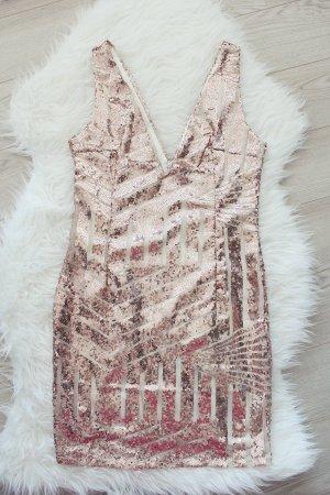 Silvester Kleid Strass Glitzer Pailetten 34 36