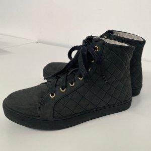 Silvian Heach High Top Sneaker Boots Damen Gr. 37 knöchelhoch schwarz gold Schnürschuh
