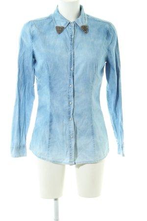 Silvian heach Jeansbluse blau-weiß Casual-Look