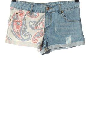 Silvian heach Short en jean bleu-blanc cassé motif abstrait style décontracté