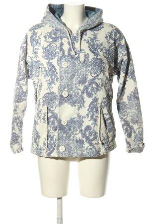 Silvian heach Veste à capuche bleu-blanc imprimé allover style décontracté