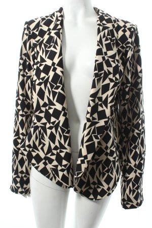 Silvian heach Kurz-Blazer creme-schwarz abstraktes Muster Casual-Look