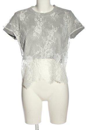 Silvian heach Blouse à manches courtes gris clair-blanc style décontracté