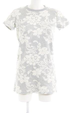 Silvian heach Kurzarmkleid hellgrau-weiß florales Muster Casual-Look