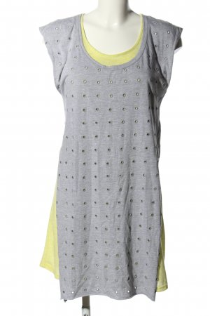 Silvian heach Robe courte gris clair-jaune primevère moucheté