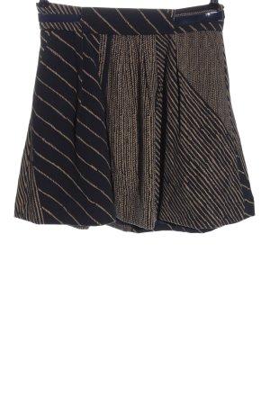 Silvian heach Mini rok zwart-bruin gestreept patroon casual uitstraling