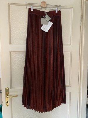 Silvian heach Jupe à plis noir-rouge carmin