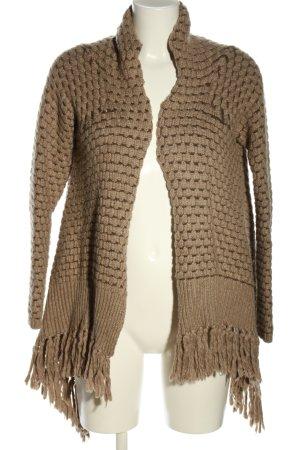 Silvian heach Cardigan tricotés brun torsades style décontracté