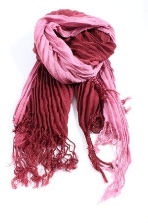 SIlvio Tossi Fransenschal pink-rot Streifenmuster Casual-Look