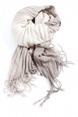 SIlvio Tossi Fransenschal hellgrau-wollweiß Farbverlauf Casual-Look