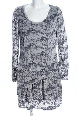 Simclan Shirtkleid hellgrau-schwarz abstraktes Muster Casual-Look
