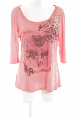 Simclan T-Shirt pink-bronzefarben Motivdruck Casual-Look
