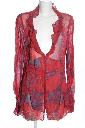 Simclan Transparenz-Bluse rot-hellgrau abstraktes Muster Elegant
