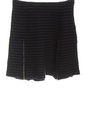 Simclan Wool Skirt black-light grey striped pattern casual look