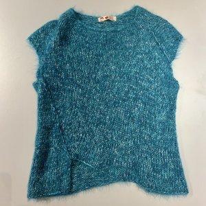 SIMONASTYL Sweter z krótkim rękawem turkusowy-morski Wełna