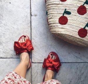 Sandalias para uso en exteriores rojo tejido mezclado