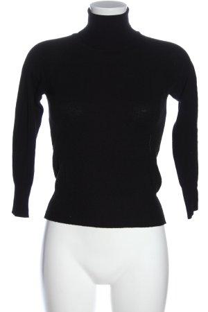 Simple Turtleneck Sweater black casual look