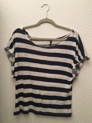 Amisu Oversized blouse wit-donkerblauw