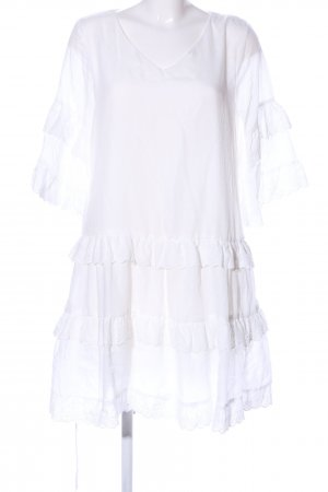 Simplee Robe à volants blanc style d'affaires